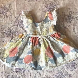 Baby Starters 9M Open back dress W/ ruffle bloomer